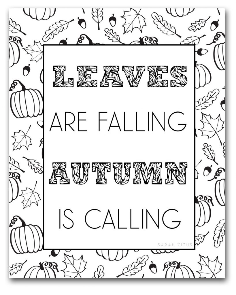 Enjoy the inspiration of Fall colors with these Free Fall Coloring Pages to Color! #fallcoloringpages #coloringpagesforadults #freeprintablecoloringpages