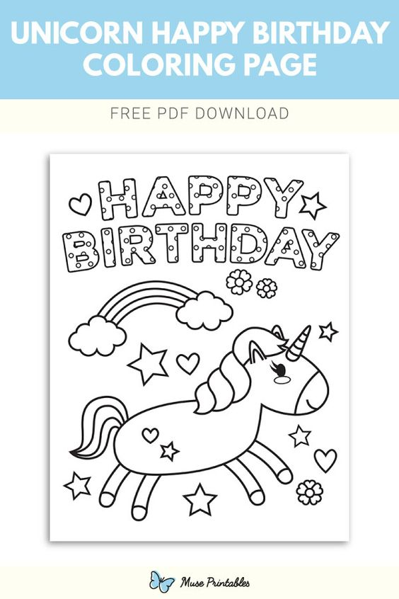 60 Best Free Printable Happy Birthday Coloring Sheets