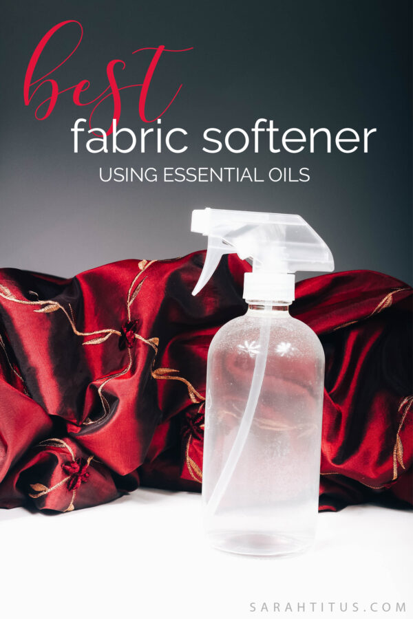 This all natural fabric softener spray uses the power of vinegar and essential oils to give your clothes a crisp, clean scent using just TWO ingredients you already have on hand! #naturalfabricsoftener #fabricsoftener #fabricsofteningspray #fabricsoftenerspray