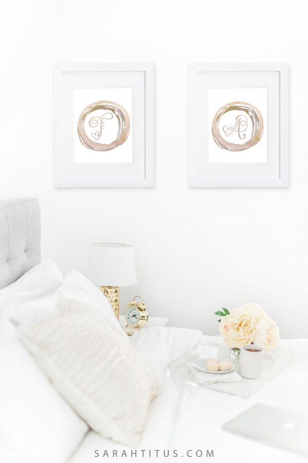 You just bought a new beige couch and need some wall art A-sap. You don't wanna go out and spend a lot of money. Good news! You don't have to! Grab our FREE monogram initials wall signs here! #monograminitials #wallsigns #wallart #homedecor #freeprintables