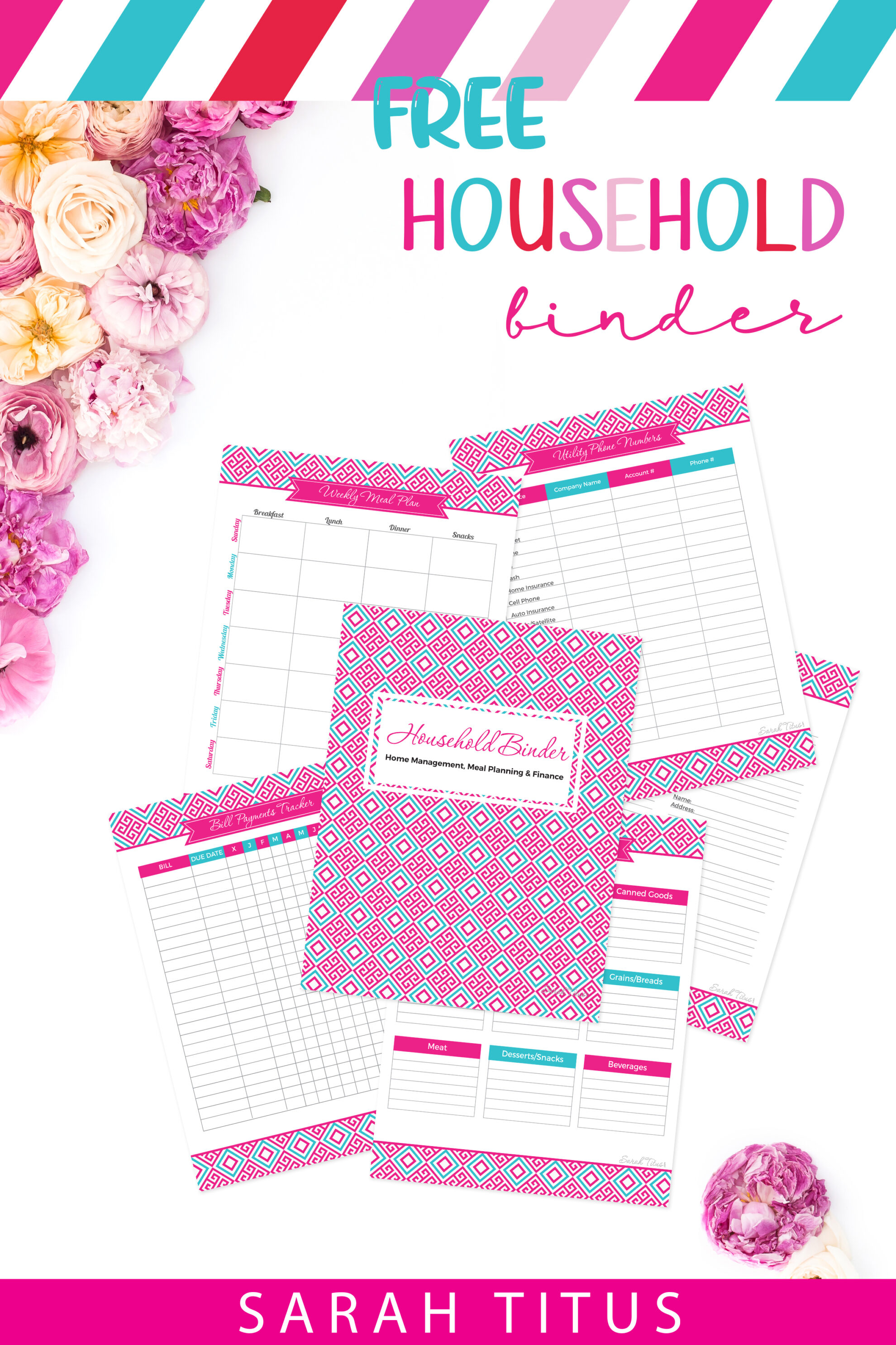 If you're an organization freak like me who just loves having everything all nice and tidy in one spot, this household binder free printables set is for you! #householdbinder #binder #freeprintables #binderprintables #homemakingbinder