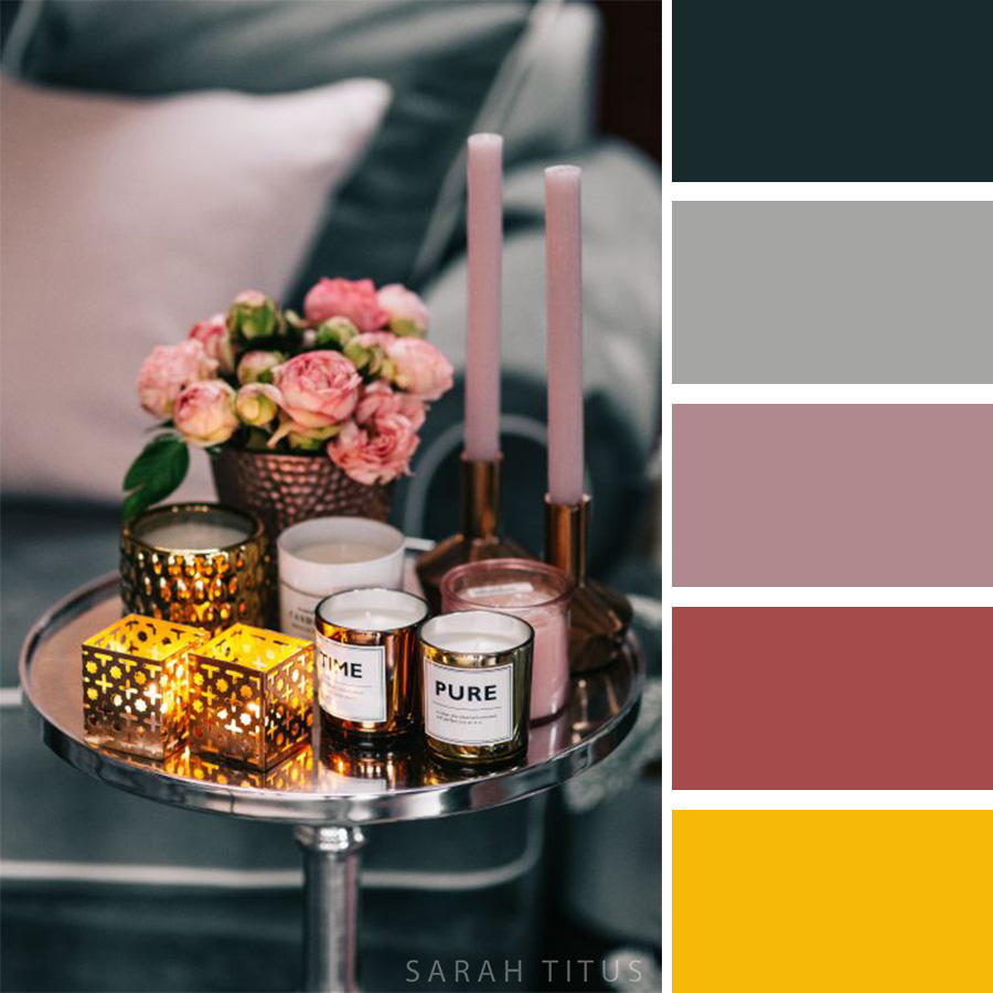 Beautiful Decoration with Pink flowers and candles Color Palette