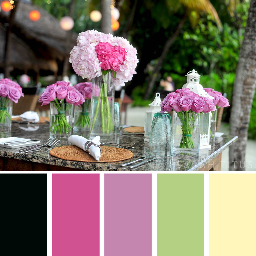 Beautiful Table Decor Color Palette with pink flowers