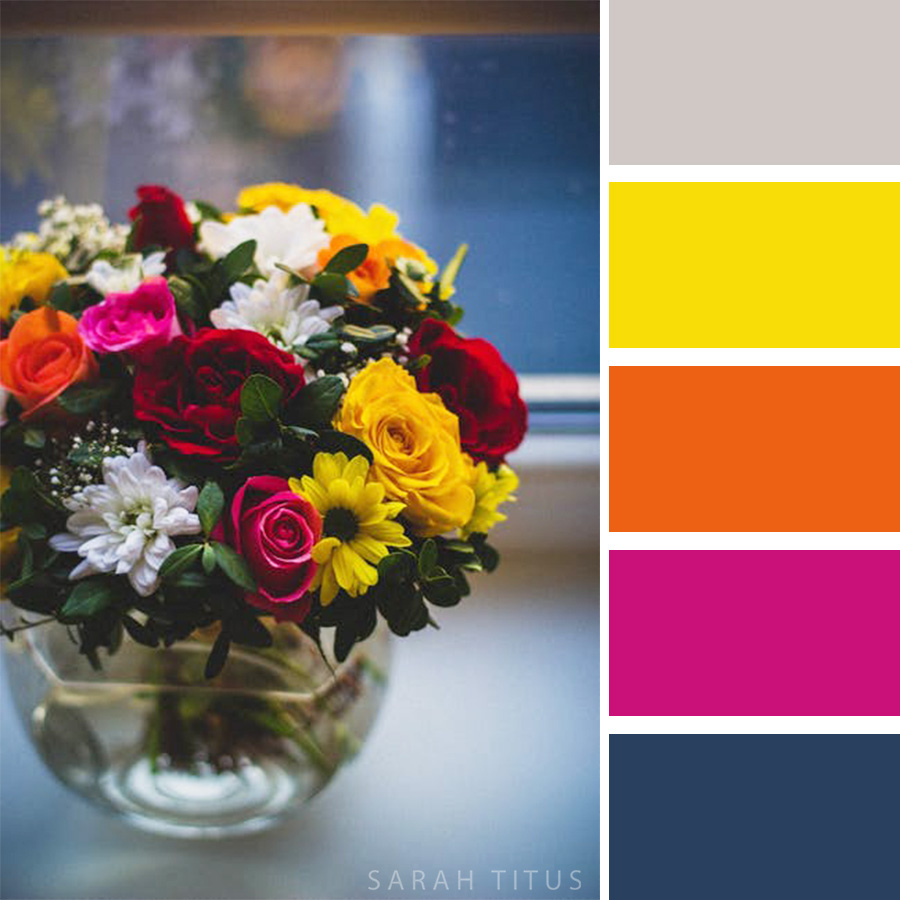 Beautiful Red, Yellow, White and Pink Flower Arrangement Color Palette