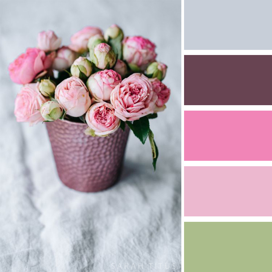 Beautiful Pink Rose Arrangement Color Palette