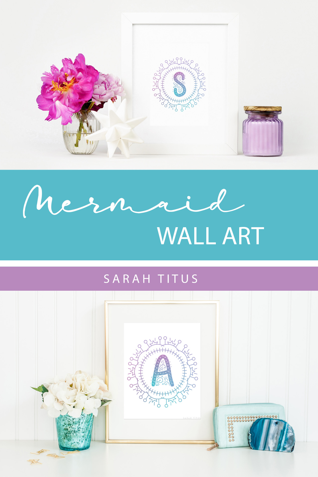 Whether you use this for a binder or as wall art, your teen is sure to love these free printable mermaid monogram wall arts! #freeprintablewallart #mermaidprintables #bindercovers #mermaidmonogramwallart #monogramwallart