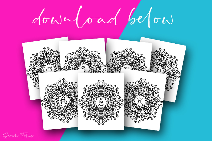Free Printable Coloring Monogram Wall Signs
