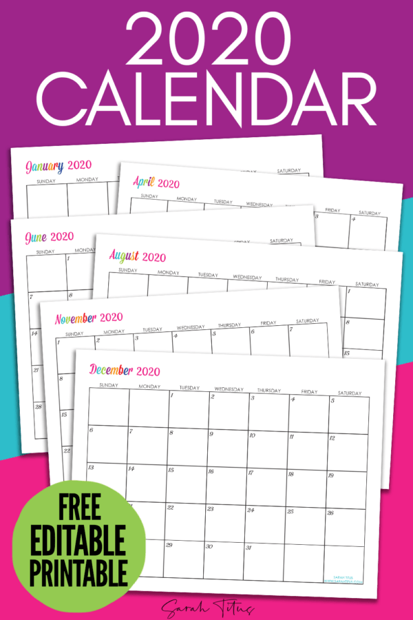 Grab this free printable 2020 calendar to help you stay organized this year! Keep track of birthdays, doctors appointments, school schedules and all you important dates! Just print off this free calendar and start organizing your schedule! #calendar #freeprintable #2020 #printablecalendar