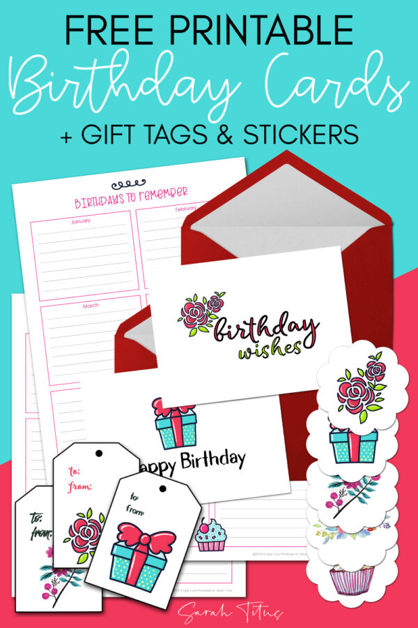 Frustrated with forgetting birthdays, or the cost of cards and gift tags? Then you'll love these free printable matching birthday cards, gift tags, stickers and calendars set!