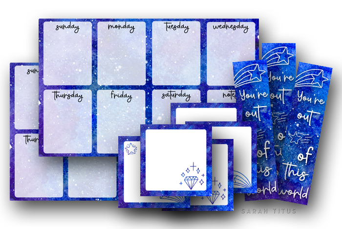 Galaxy theme weekly planner free printable