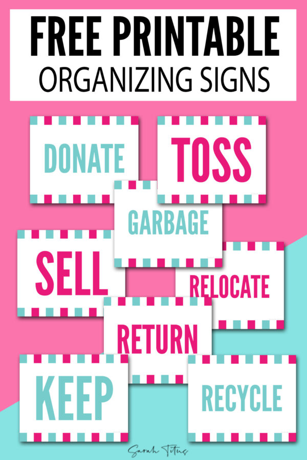 I created these fun & colorful organization signs to make decluttering a bit less boring and also quicker. Feel free to use them for your sorting piles/bins when you decide to go through your stuff and see what's worth keeping. If you're not sure where to start, I have the whole thing you need: this free printable 30-day decluttering challenge which also comes as a calendar. They are pre-filled with doable tasks and once you complete them all I promise your home will look very different.
