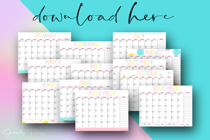 Oh my gosh! These monthly calendars are so cute. I use the printables for my classroom desk and at home for my family and they help me be so organized in my busy life!!