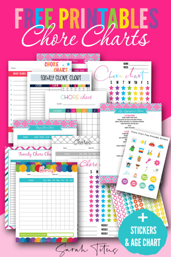 Get these 10 different professionally designed free printable PDF chore charts that you can download instantly! #formultiplekids #diy #template #weekly