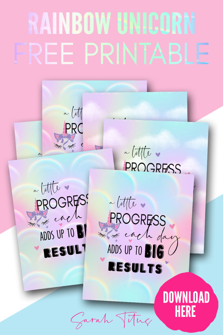 Achieving great success is about taking one step after the other, one day at a time. A little progress each day adds up to BIG results! Get the unicorn printable wall art here to remind yourself every day!