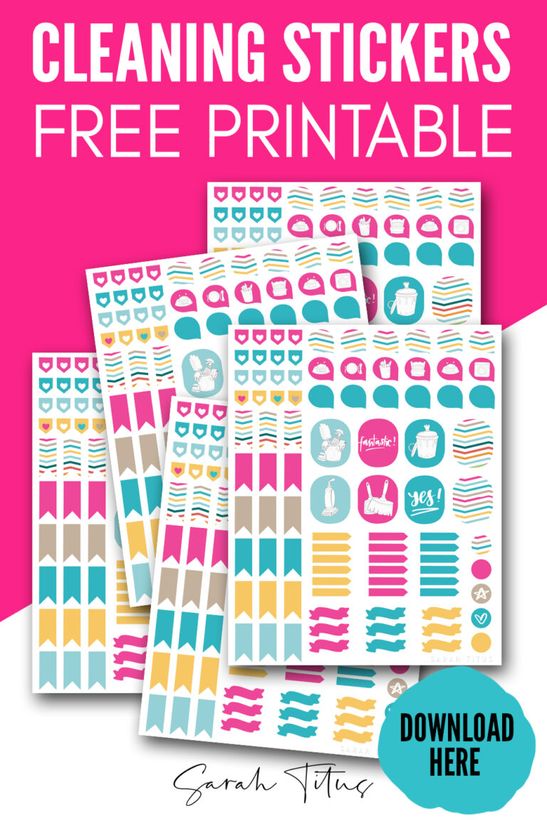 Use these free printable cleaning stickers on your planners and binders, on chore charts, or anywhere else you need to keep your family more organized!
