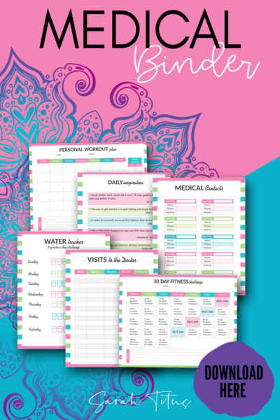 Keep track of your health, doctors appointments, prescriptions and more with this Medical Binder! Stay organized and keep track of your health and your families health by keeping all of your medical records and information in an easy to find binder! Get your medical binder printables here! #medicalbinder #printables #healthandfitness #healthtracker