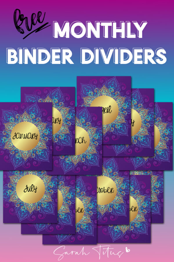 These cute and trendy printable monthly binder dividers are perfect for school notebooks, bullet journal covers, planner covers, or as dividers in your daily planner! The gorgeous purple and gold design template is sure to light you up when using it, therefore keeping you encouraged to stay organized. #organization #DIY