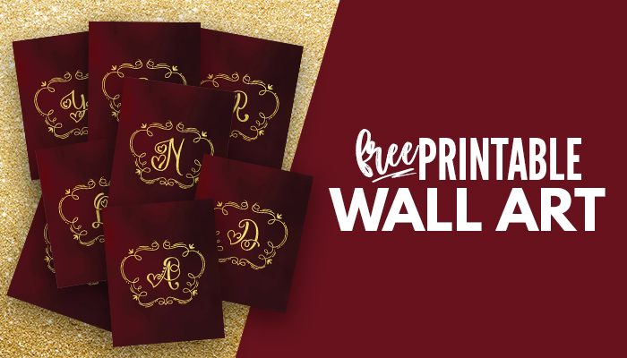 Looking for free burgundy and gold wall art printables? This chic & modern set is perfect for you! Frame them in your bedroom, living room, bathroom, kitchen or any room you like! #aesthetic #cute #minimalist #vintage
