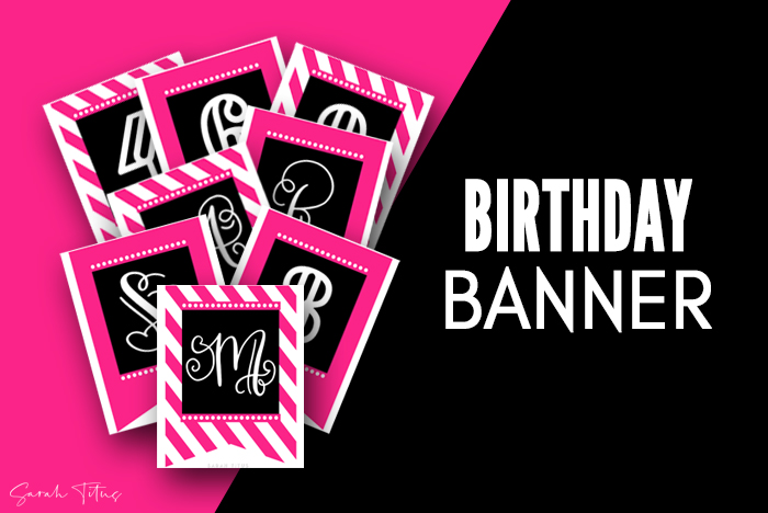 Beautiful Pink Birthday Banner Printable Free