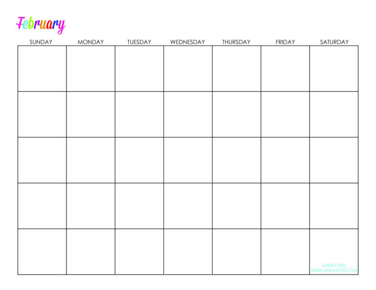 Undated Custom Editable Free Printable Calendars