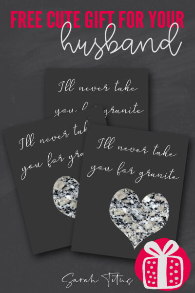 Want a free printable wall art gift to give your husband for valentine's day that you can hang in the bedroom or kitchen all year round? This fun pun quote is perfect for your spouse! Just print and frame!