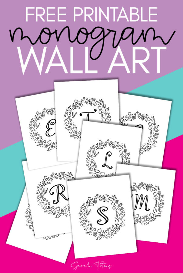 Download this free printable monogram wall art to hang up in your home! This coloring page wall art is perfect for your office or your kids bedroom! Sit down and relax while coloring this monogram wall art to display in your home! #wallart #monogramwallart #coloringpage #coloringforadults