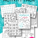 NO email sign up required. This free 17 page winter fun printable kids activities pack is perfect for Christmas school break for boys and girls alike. Includes worksheets, coloring sheets & pages, maze, crossword puzzle, calendar, bookmarks, i-spy game, memory, word search, and more! #education #learning