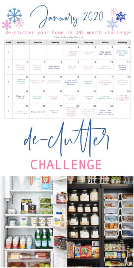 A single task per day is another easy method to get rid of the clutter and this free printable monthly challenge will help you keep track of your progress.