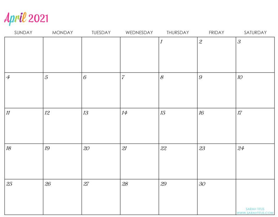 Custom Editable 2021 Free Printable Calendars - April