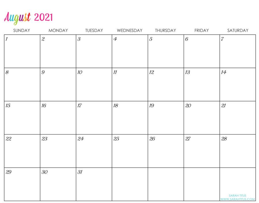 Custom Editable 2021 Free Printable Calendars - August