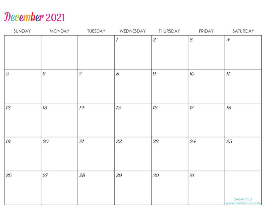 Custom Editable 2021 Free Printable Calendars - December
