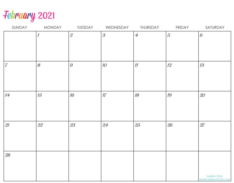 2021-February-Calendar