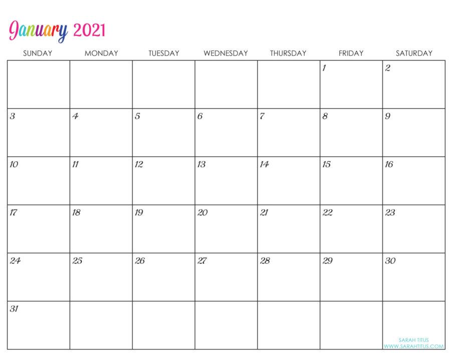 Custom Editable 2021 Free Printable Calendars - January