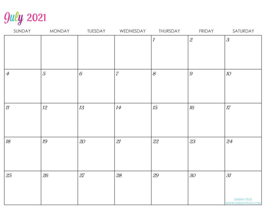 Custom Editable 2021 Free Printable Calendars - July