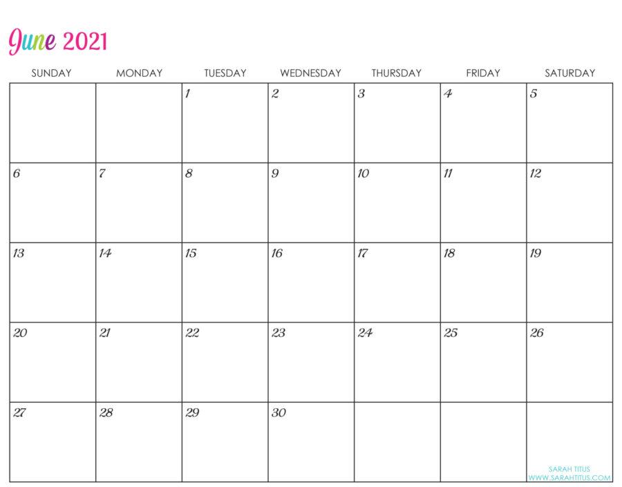 Custom Editable 2021 Free Printable Calendars - June