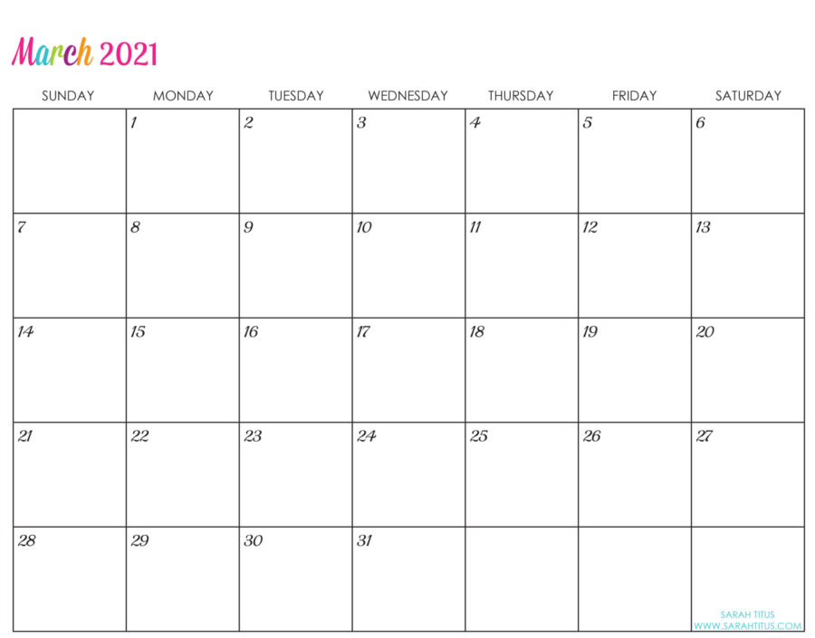 Printable Wall Calendar 2021 Custom Editable 2021 Free Printable Calendars   Sarah Titus | From
