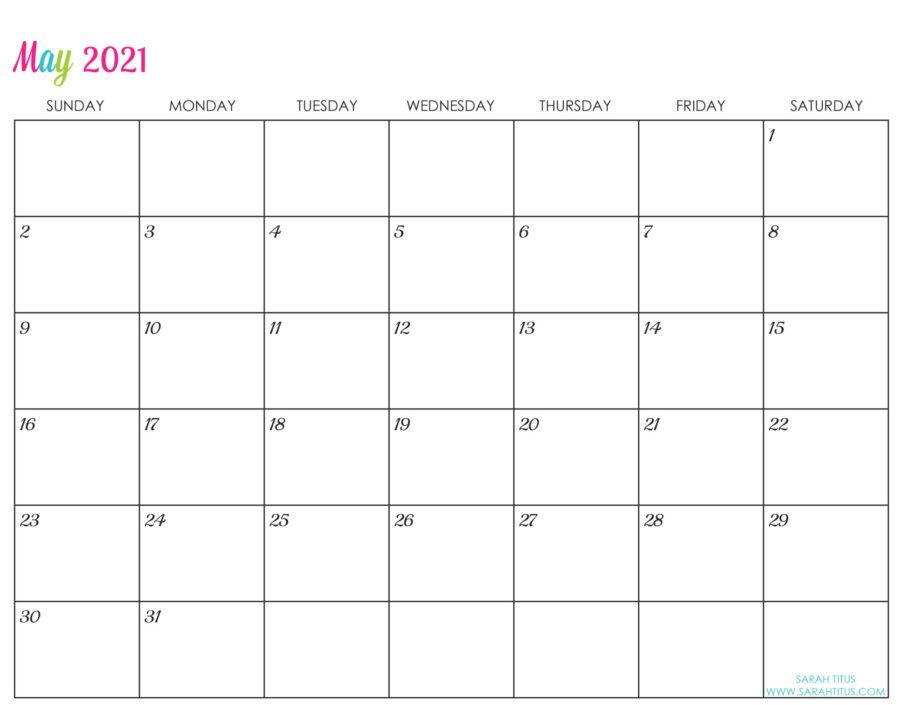 Custom Editable 2021 Free Printable Calendars - May