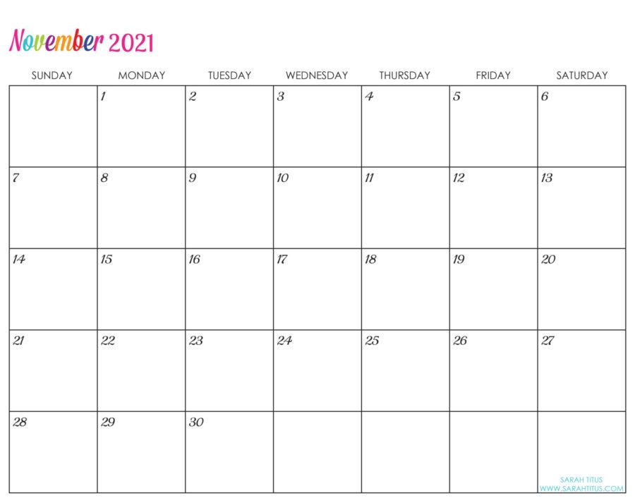 Custom Editable 2021 Free Printable Calendars - November