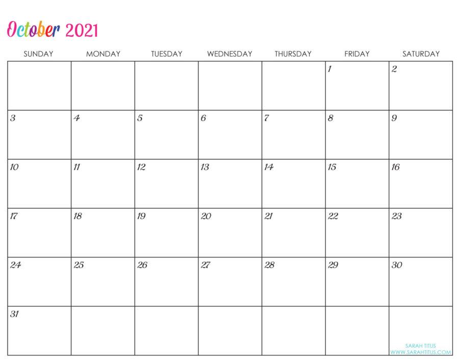 Custom Editable 2021 Free Printable Calendars - October