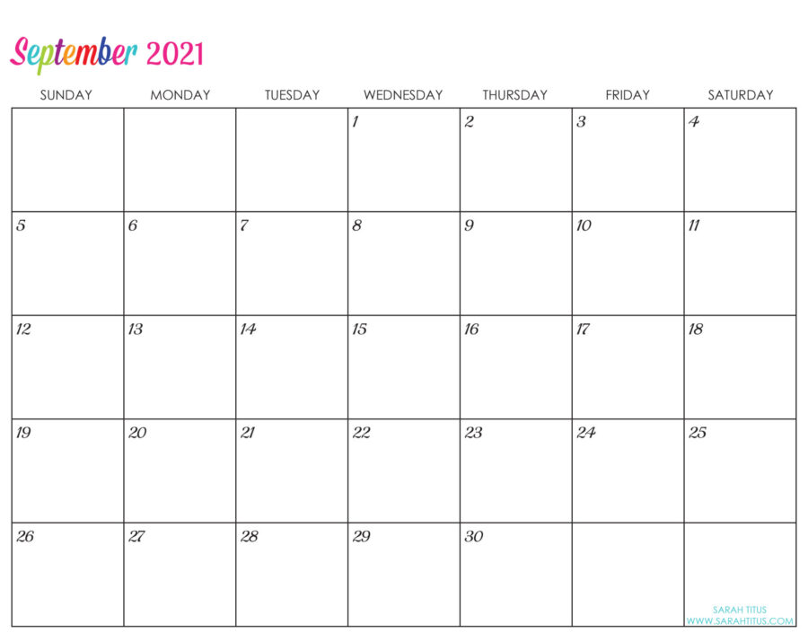 Custom Editable 2021 Free Printable Calendars - September