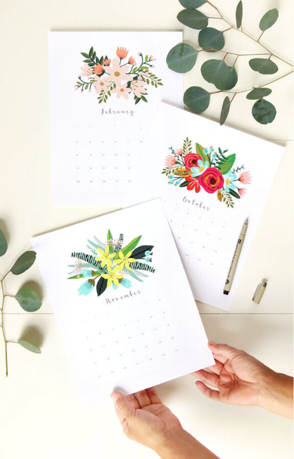 Enjoy a different floral design for each month with this gorgeous 2020 printable calendar.