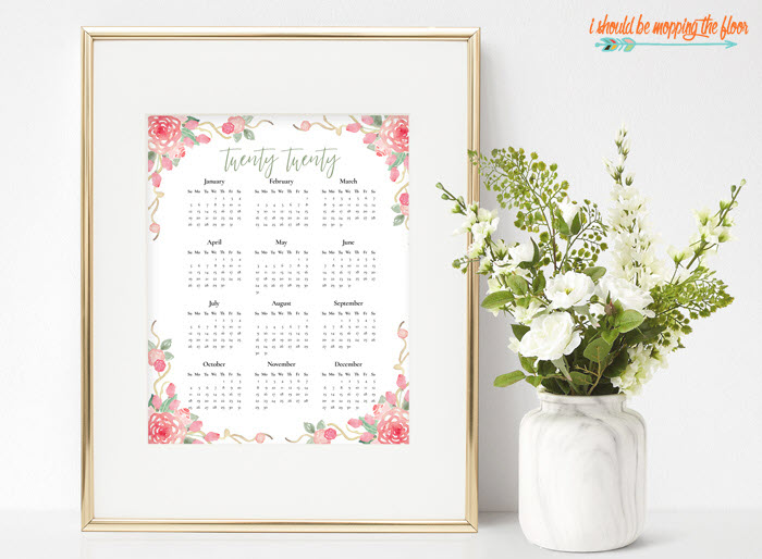 Try this 2020 at-a-glance calendar if you just want to see all the dates on one sheet, instead of having a monthly view. It's also very feminine and pretty!