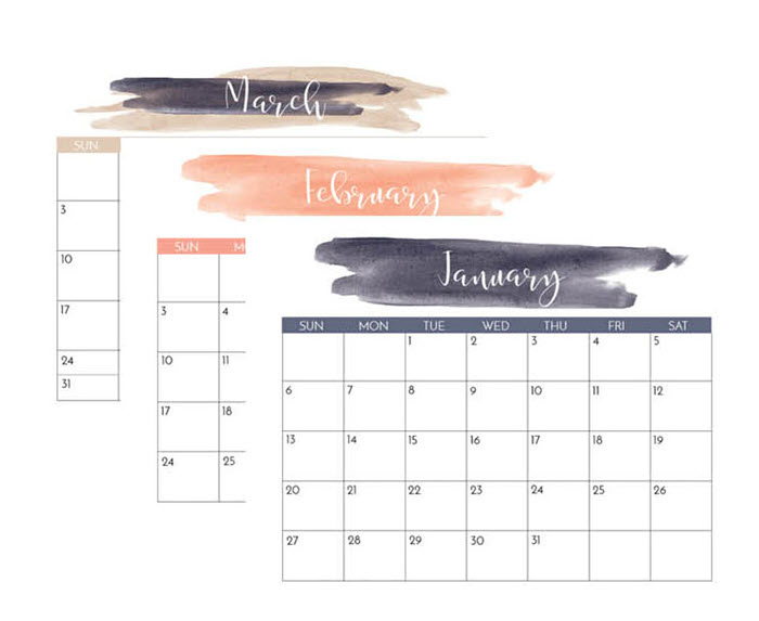 This navy and blush watercolor calendar would make the perfect wall hanging to decorate your office space.