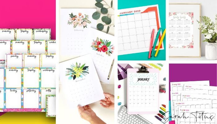 Here is a large selection of some of the best FREE printables of 2020 calendar templates! From watercolor and floral designs with lines to simple and minimalist black and white horizontal layouts, there are so many cute calendar design styles to choose from for 2020! Some are customizable and editable. Others are daily, weekly and monthly calendar planners with lots of blank space that can be used for kids for school, work and home planning. Some even have coloring sheets too!