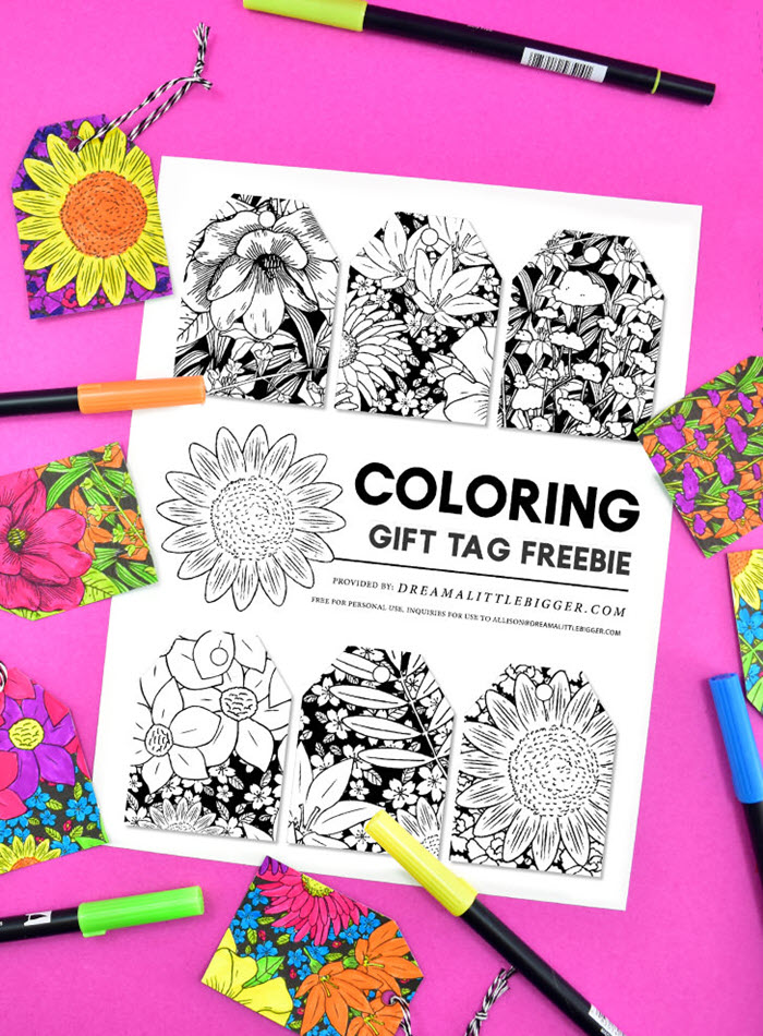 Speaking of free floral printables you can color, here's another great one! The idea of coloring your gift tags is brilliant. You can mix and match colors according to your gifts and wrapping paper.