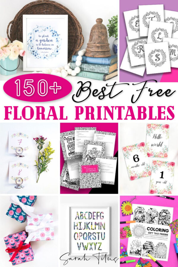 Do you love floral prints? You'll love this cute selection of FREE floral printables! Whether you need some quotes or monogram wall art backgrounds for your frames, decorations (table numbers, table runners) or you're looking for inexpensive but thoughtful gift ideas for birthdays, a baby shower or wedding, gift wrap or gift tags and much more, these templates are perfect. Even more, some are black and white for coloring! #botanicalprints #shabbychic #vintage