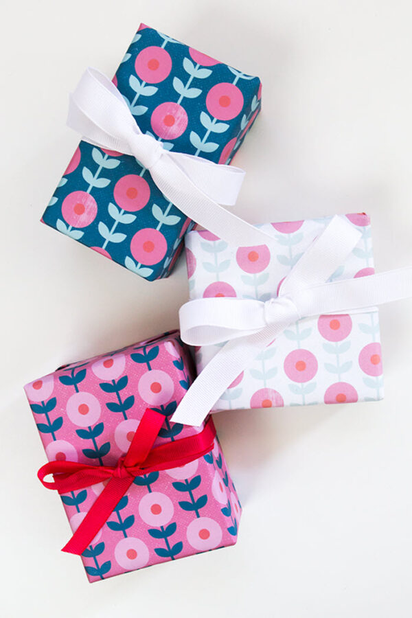 Floral gift wrap is so versatile and if you like this design, all you need to do is print it and use it to pretty up your gifts.