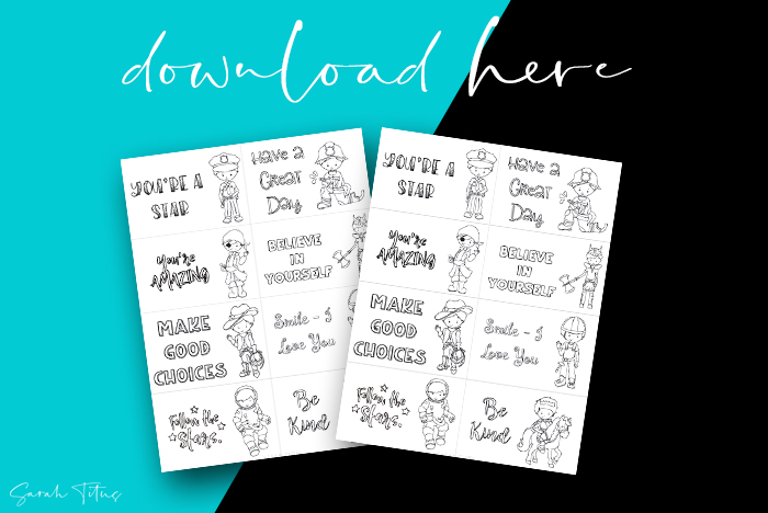 Free Colorable Cute Lunch Box Notes For Boys