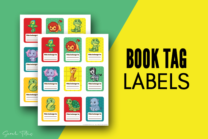 Jungle Animals Art - Book Labels Personalized Printable For Boys