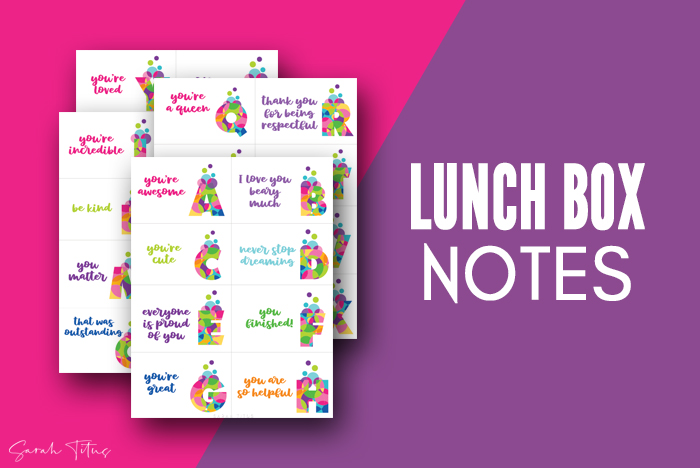Monogram Colorful Art Love Notes For Lunchbox Cards Printable